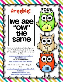 "FREEBIE!! ""Owl"" About Numbers Work Page."
