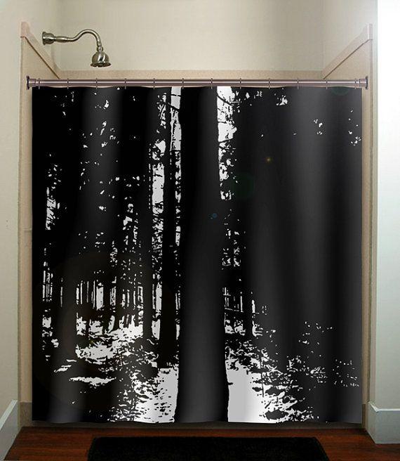 Dark Woods Black Forest Trees Shower Curtain Bathroom Decor Fabric Kids Bath Window Curtains Panels Valance Bathmat