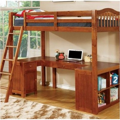Furniture of America Dutton Transitional Twin Loft Bed W/ Workstation CM-BK265A-BED
