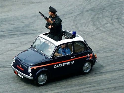 "Carabinieri in cinquecento ! Only in Italy the police cars go from ""Fiat 500"" special to ""Alfa-Romeo"" special to ""Lamborghini"" all special edition for the police force"
