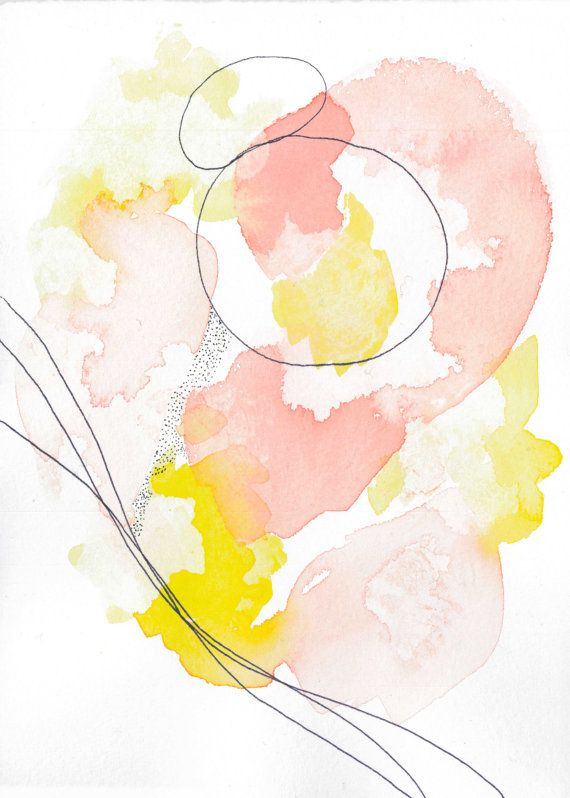 Pink Abstract Home Art This Pink And Yellow Abstract Art Pair Is