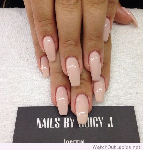 Nude coffin nail art