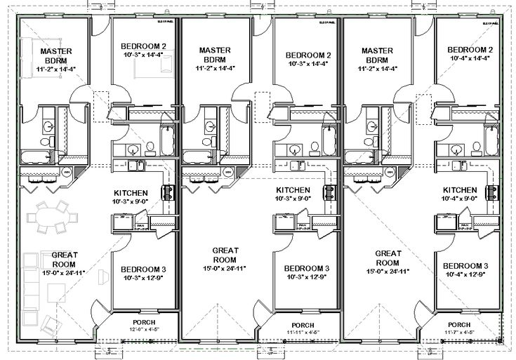 Triplex house plans 1 387 s f ea unit 3 beds 2 ba for 3 bedroom unit floor plans