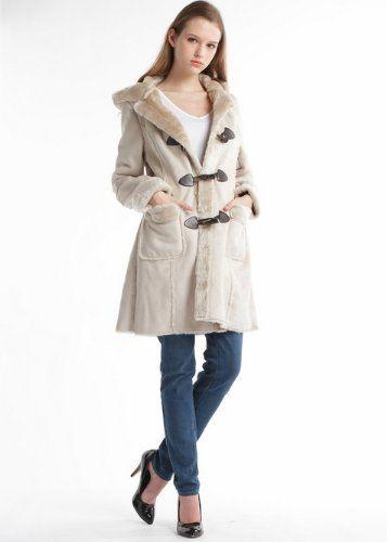 Amazon.co.jp: PREFERIR(プレフェリール) ムートン ダッフル コート レディース (フード付き エコ ムートン ダッフル コート) 10619 Lサイズ ベージュ: 服&ファッション小物