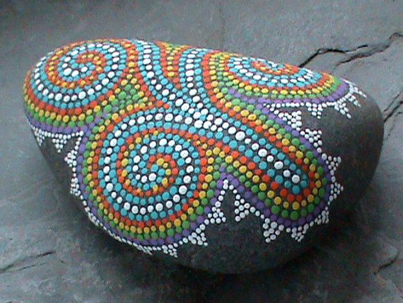Painted Stones/Painted Rocks/Dot Painted/Paperweight/Beach Decor/Nautical/Lake Erie