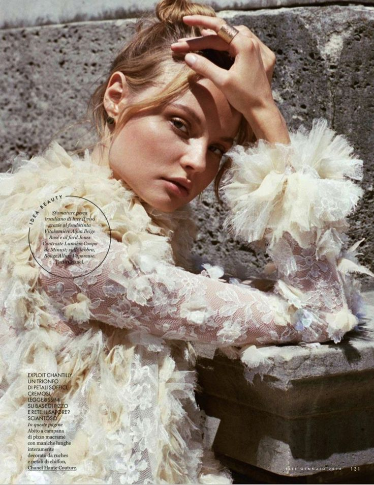 Magdalena Frackowiak wears couture gowns stars in ELLE Italy Magazine January 2016 issue Photoshoot