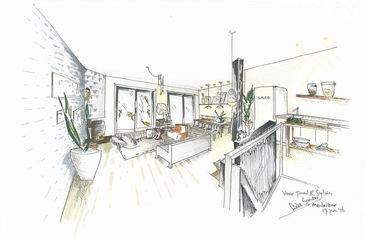 Interieurontwerp Baarsjes Amsterdam |  Warm scandinavisch - open & ruimtelijk - rust & eenheid - gezellig tafelen - afrikaans tintje - oude bouwmaterialen - robuust hout - luchtig & levendig - tv niet als middelpunt | Meubelbar