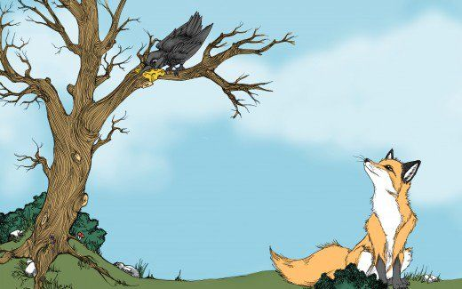 Picture books with short stories hold great appeal for kids. The fox and the crow fable  is a popular such tale—here you can read it with pictures.