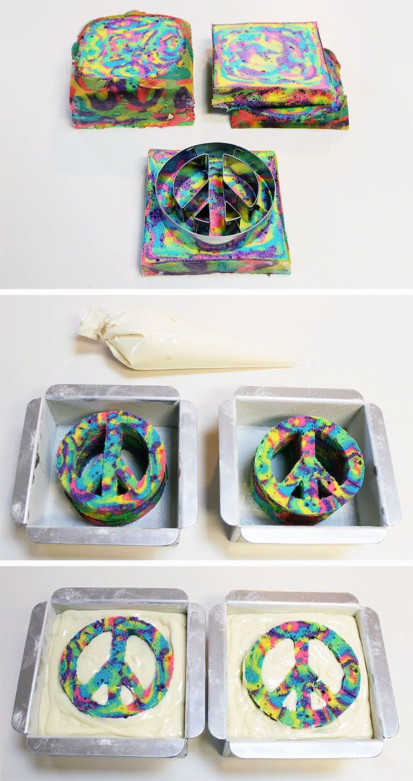 How To Make A Tie-Dye Cake. May have to give this one a try.