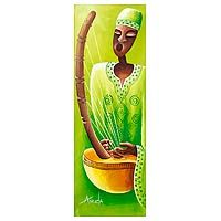 Original Musician Painting from Africa - The Trumpeter | NOVICA