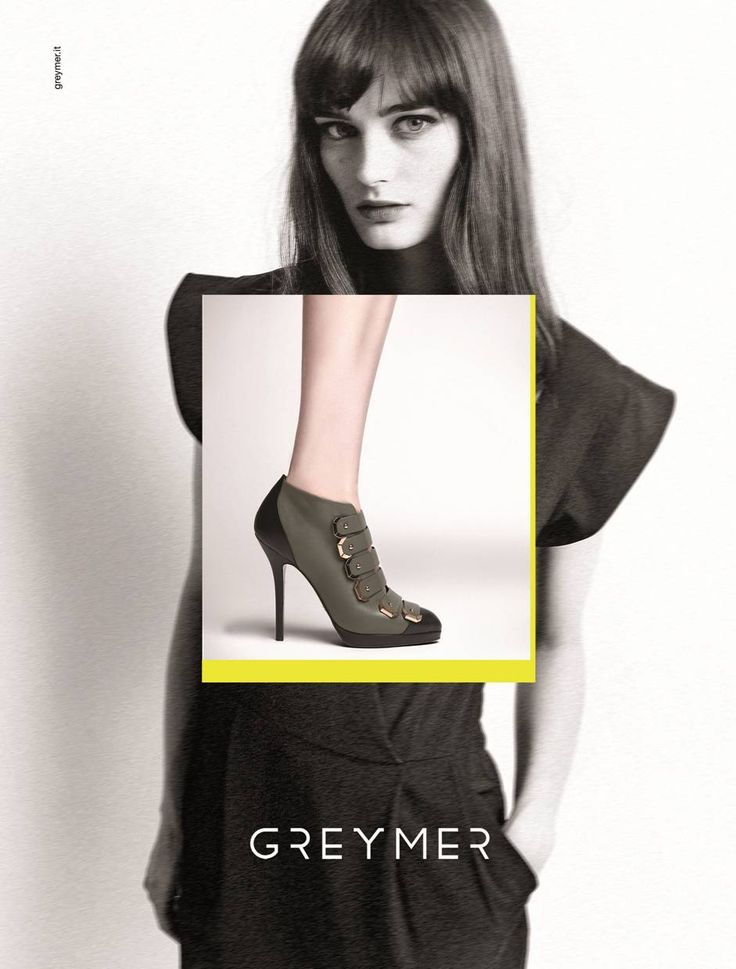 FALL WINTER COLLECTION 2014 www.greymer.it shoe: 300  model: SIBUI Ksenia Nazarennko concept: focus on the shoe framed in yellow over a woman with a biting style despite her sweet and delicate allure.