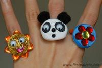 """Button Rings~ This would be a cute craft for a little girl's Birthday party... for your """"girly girl"""" =-D"""