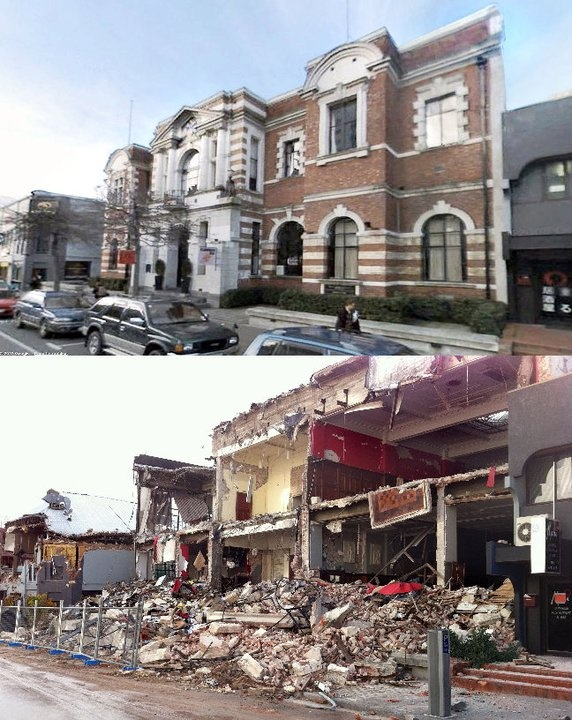 Before and after photos of the quake