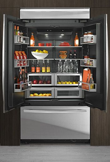 Jenn Air Obsidian Refrigerator. Love the interior color of this fridge.