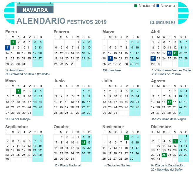 Calendario Laboral De Navarra Para 2019 Dia De La Constitucion
