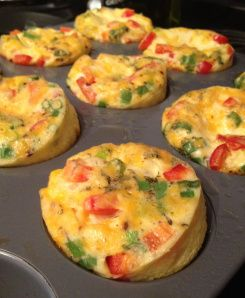 Crustless Mini Quiches Makes 9 6 eggs 1/2 c milk Seasoning Mix-ins Options to try are spinach, scallions, peppers, cheddar cheese, onions, swiss, mushrooms, tomatoes, feta Preheat oven to 350°F Spray muffin pan w cooking spray. Whisk together eggs, milk&desired seasonings. Pour into muffin cups to 3/4 full Add desired mix-ins Stir each w spoon to incorporate. Bake for 20 min, rotate at 10 min. Quiches will be puffed up but will sink as cooled remove&cool. can be stored