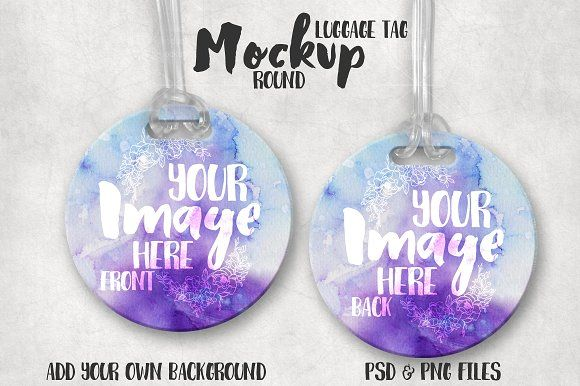 Round Luggage Tag Mockup Graphics This listing is a mock-up that features a round luggage or bag tag with clear plastic tag loop. Tem by StyledProductMockups