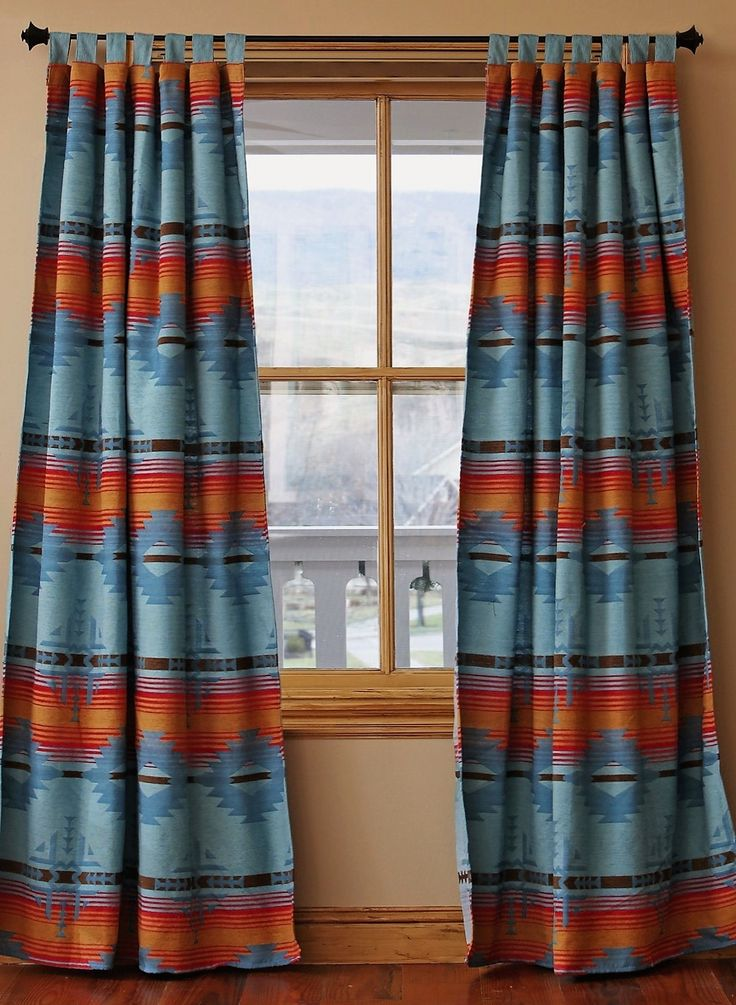 Looking for Southwestern Curtains to tighten up your Southwestern Decor? Set of 2 Blue Diamond curtain panels. Tab top. Turquoise & burnt orange.
