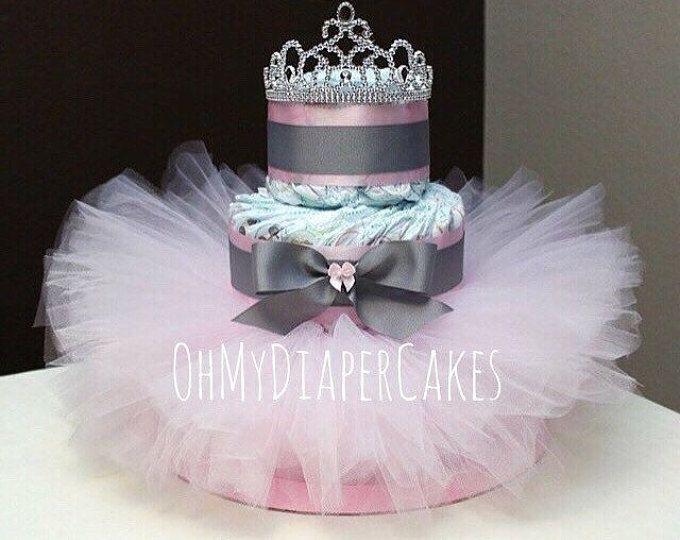 Nivel 3 pañales princesa pastel, 2 estilos, Tutu pañal Cake, pastel de pañal de Tiara, pañal pastel para el Baby Shower de niña, Baby Shower de niña, princesa