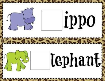 FREE!!!! Zoo Animals Beginning Sound Game Cards