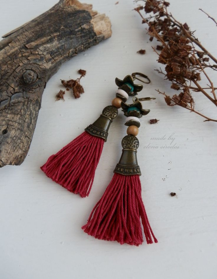Красные серьги кисти. Серьги в этническом стиле, в стиле бохо.  Серьги ручной работы. Earrings. Bohojewels. Bijoux. Bohoearrings