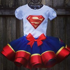 Superhero birthday outfiit, Superman, Supergirl ribbon trimmed tutu set - red, blue, gold - personalized for any party