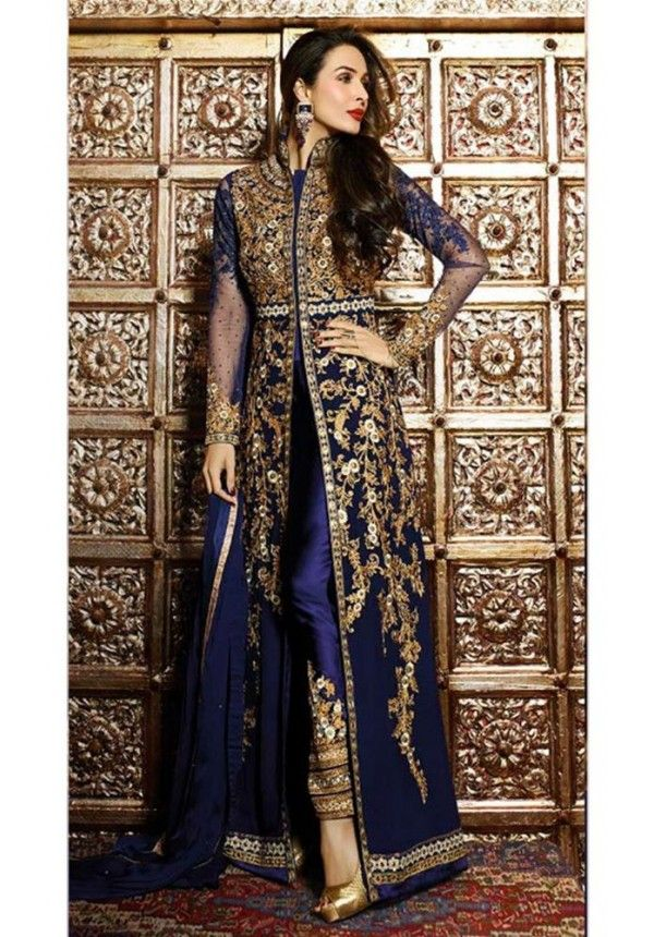 Alluring Blue and Gold Anarkali with Resham Embroidery