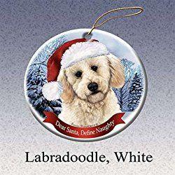 Holiday Pet Gifts Labradoodle, White Santa Hat Dog Porcelain Christmas Tree Ornament