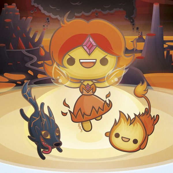 Kawaii Adventure Time by SquidandPig - Flame Princess, Flambo and Fire Wolf  www.squidandpig.com