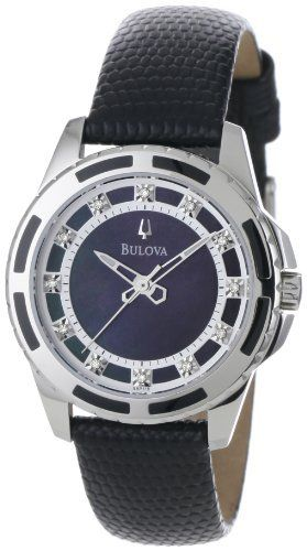 Bulova Women's 98P118 Enamel Inlayed Case Watch Bulova. $179.00. Black Mother-Of-Pearl 12 diamond dial. Quartz movement. Water-resistant to 99 feet (30 M). Leather strap. Domed mineral crystal