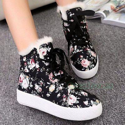 Fashion Korean Canvas High Top Floral Sport Platform Velvet Warm Shoes  Sneakers