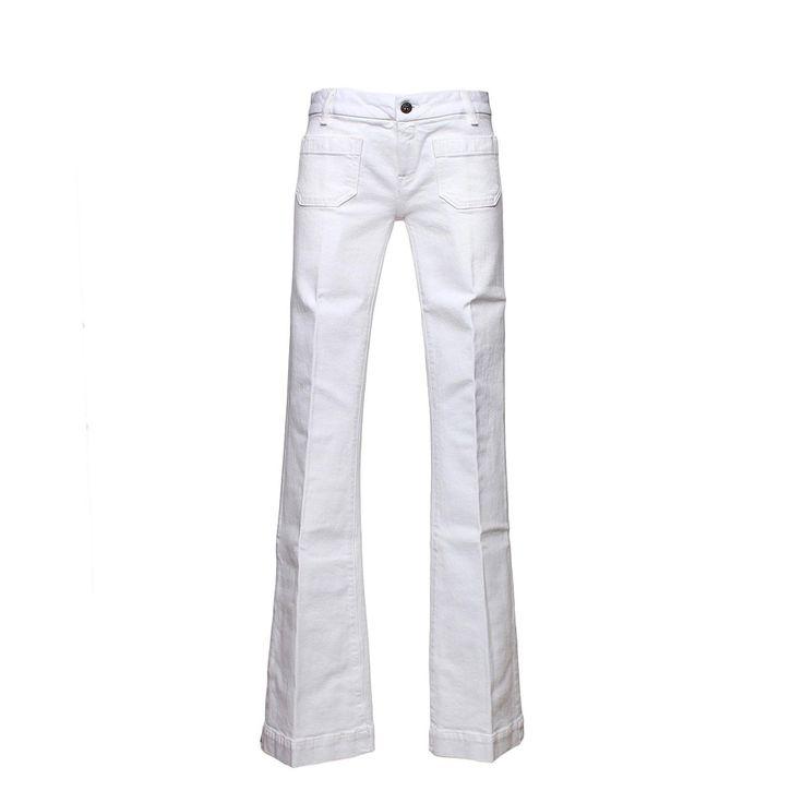 Bonpoint - Jeans Penelope Bianco Bambina - Esclusivo jeans bianco a zampa modello Penelope firmato Bonpoint Junior della nuova Collezione Primavera Estate 17 - Linea di abbigliamento Bimba e Bambina. #annameglio #shoponline #bonpoint