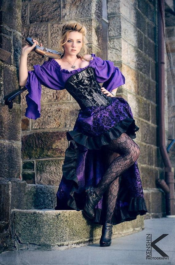 Purple Steampunk Outfit Corset, Purple Blouse, Purple and Black Skirt on Etsy, $375.00