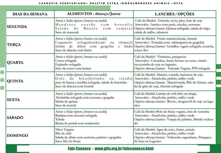 Cardápio Vegetariano Semanal::Cardápio Vegetariano (Imagem: GFFA)