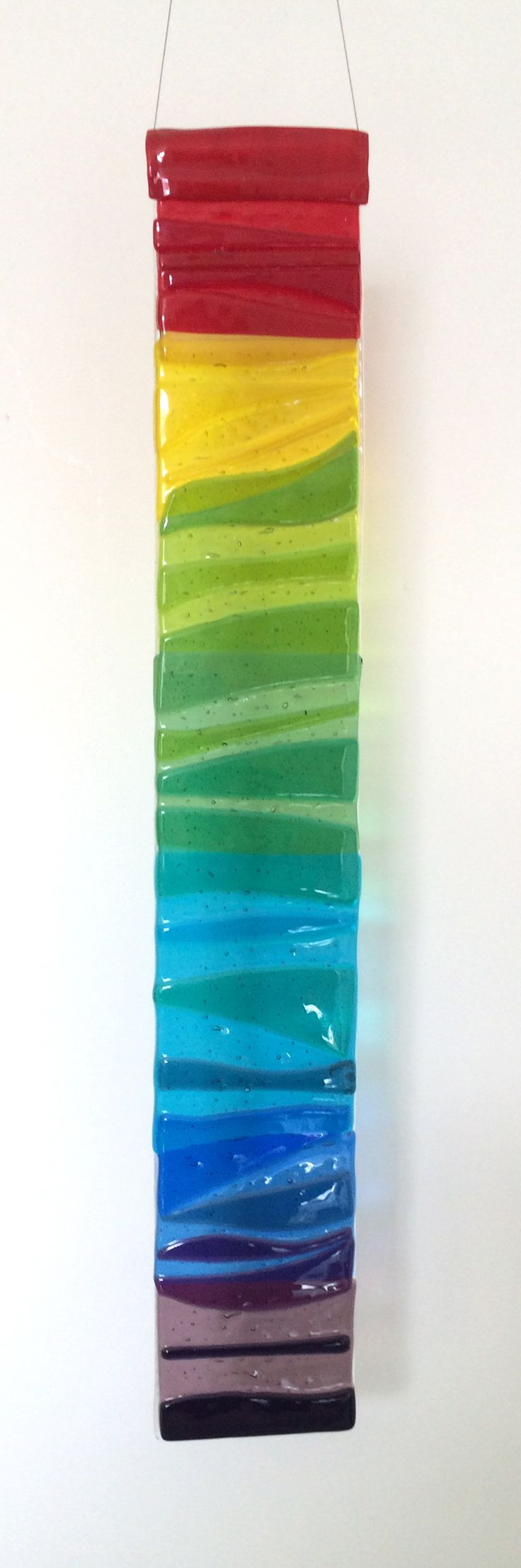 Row of beach huts curved fused glass table clock - Fused Glass Suncatcher With Hanging Wire Ready To Hang In The Window On The Wall Or In The Garden Design Rainbow Large X Or Small X Please Note That All