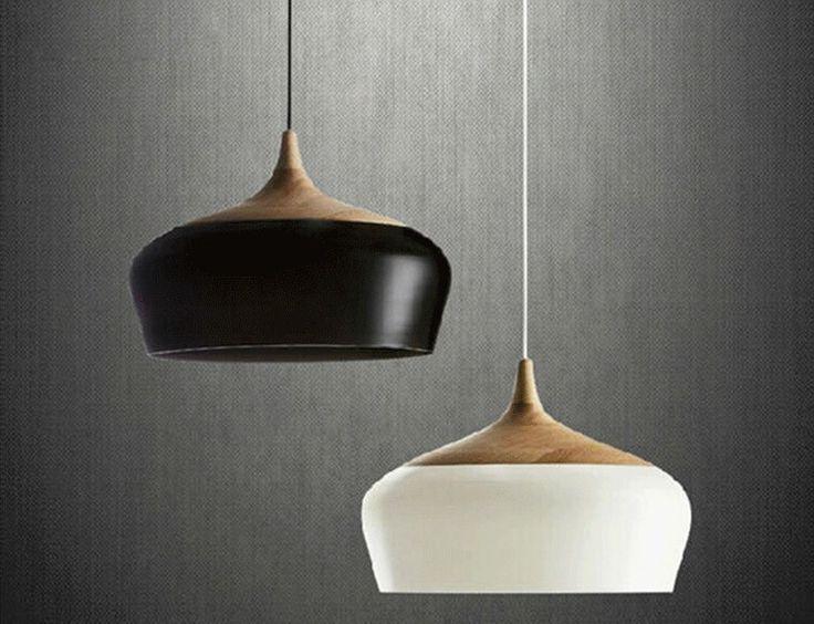 Jacob Oak and Aluminium Pendant Light - White - Castelle & Leon