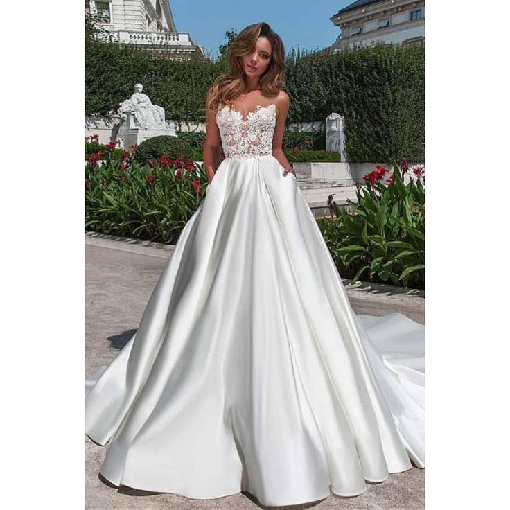 A line Appliques Sheer Marriage ceremony Costume,White Satin Backless Marriage ceremony Clothes,Bridal Robes,557