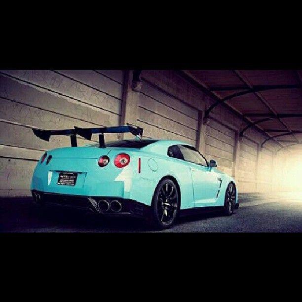 light blue Nissan GTR