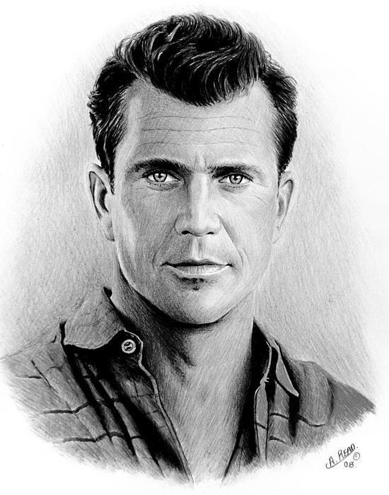 Mel Gibson. Pencil sketch on white card.