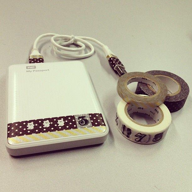 washi tape portable hard drive - Personaliza un disco duro portatil con cinta japonesa