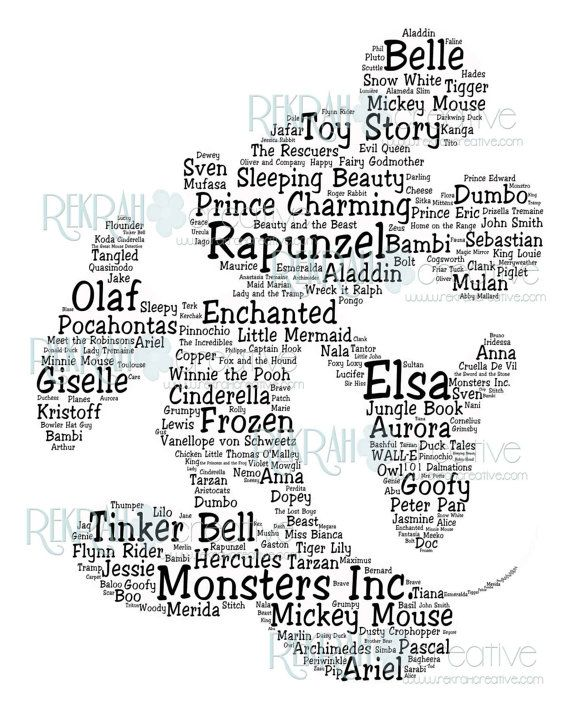 Mickey Mouse Shaped Subway Art with character names and movies Instant Download  11x14 inches on Etsy, $5.62