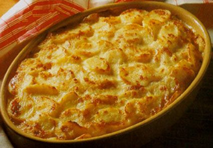 Gratin Dauphinois: potatoes, milk, cheese and a little garlic baked in the oven until melting in the mouth. It's from the Dauphine area of France.