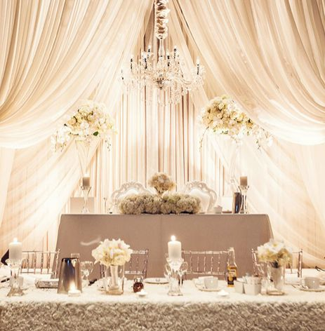 The opulent #sweetheart table at this white and silver #wedding is simply exquisite: http://wedluxe.com/?p=52913