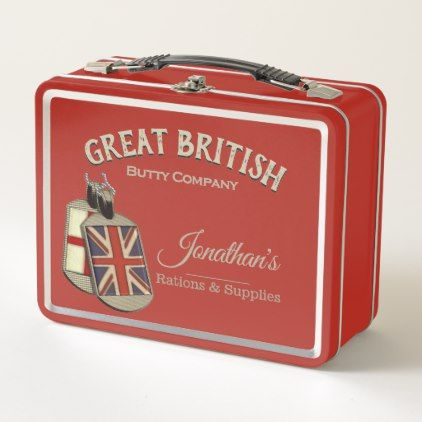 Funny Vintage Great British Butty Company Metal Lunch Box - kitchen gifts diy ideas decor special unique individual customized