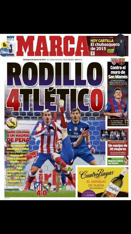 Portada del 8/02/2015 Periodico deportivo, Atletico de