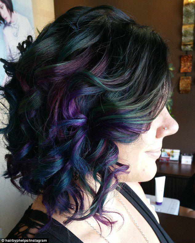 Wavy bob with dark mermaid colors.