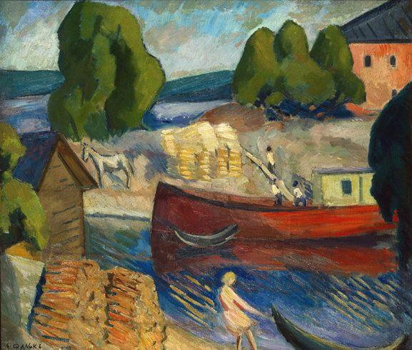 Репродукция картины Пейзаж с баржами, Фальк Роберт купить репродукцию, постеры, продажа репродукций картин