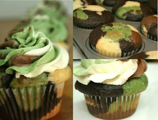 I know a few boys who would LOVE these!    Camo Cupcakes.  EASY! Skip the fancy color mixed frosting and just do green.  So cool!