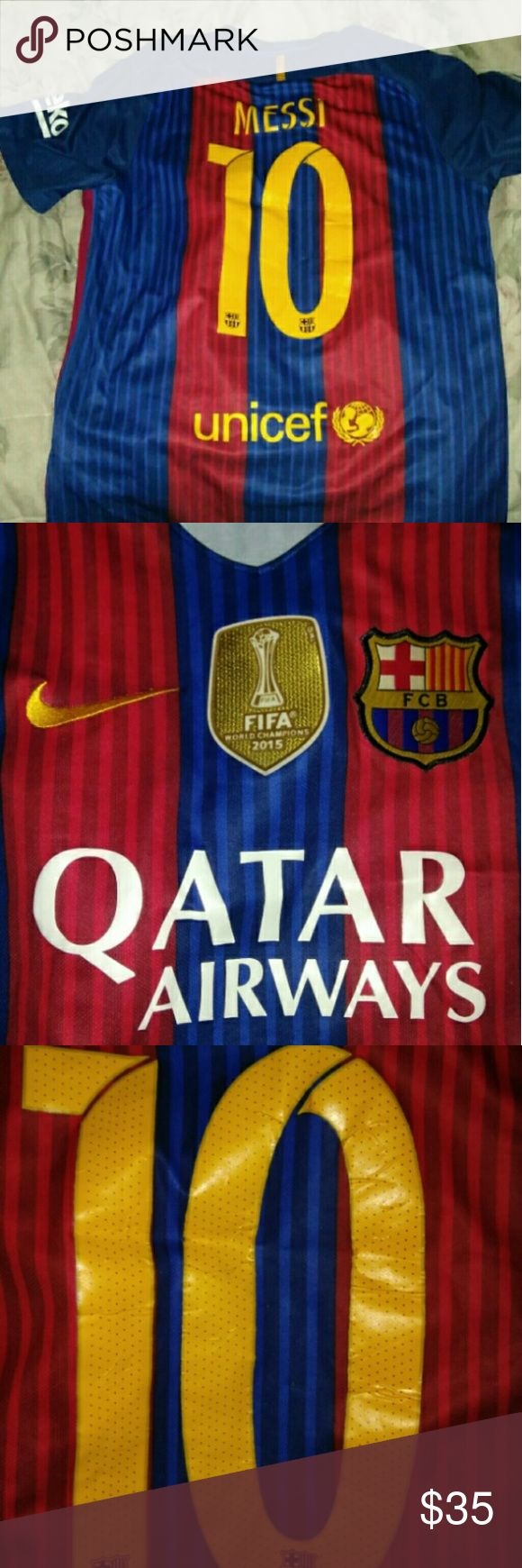 Messi Barcelona 2016/17 Jersey Really used Messi Name Coming off  A lot of Snags Size M Shirts Tees - Short Sleeve