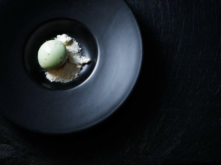 Buttermilk with sorrel at our Michelin star restaurant Kokkeriet, Copenhagen - Denmark.